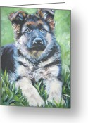 Alsatian Greeting Cards - German Shepherd Puppy Greeting Card by Lee Ann Shepard