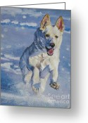 Shepherd Painting Greeting Cards - German Shepherd white in snow Greeting Card by Lee Ann Shepard
