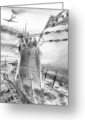 Atlantic Ocean Drawings Greeting Cards - German Sub Watches B-24 Greeting Card by Aviation Heritage Press