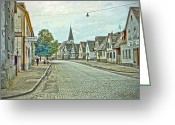 Signed Greeting Cards - German Village Greeting Card by Chuck Staley