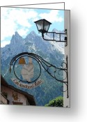 Interesting Art Greeting Cards - Germany - Cafe Sign Greeting Card by Carol Groenen