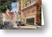 Street Greeting Cards - Germany Baden-Baden Lange Str Greeting Card by Yuriy  Shevchuk