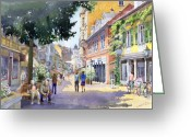Buildings Painting Greeting Cards - Germany Baden-Baden Lange Strasse Greeting Card by Yuriy  Shevchuk