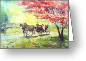 Europe Painting Greeting Cards - Germany Baden-Baden Lichtentaler Allee Spring 2 Greeting Card by Yuriy  Shevchuk