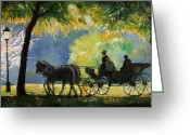 Germany Painting Greeting Cards - Germany Baden-Baden Lichtentaler Allee Spring  Greeting Card by Yuriy  Shevchuk