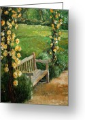Germany Painting Greeting Cards - Germany Baden-Baden Rosengarten  Greeting Card by Yuriy  Shevchuk