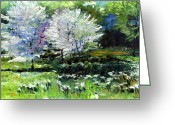Germany Painting Greeting Cards - Germany Baden-Baden Spring 2 Greeting Card by Yuriy  Shevchuk