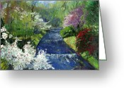Germany Painting Greeting Cards - Germany Baden-Baden Spring Greeting Card by Yuriy  Shevchuk