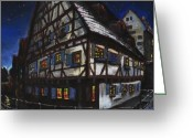 Germany Greeting Cards - Germany Ulm Fischer Viertel Schwor-Haus Greeting Card by Yuriy  Shevchuk