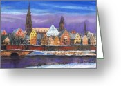 Germany Greeting Cards - Germany Ulm Panorama Winter Greeting Card by Yuriy  Shevchuk