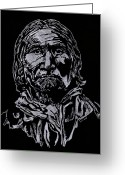 Arapaho Glass Art Greeting Cards - Geronimo Greeting Card by Jim Ross