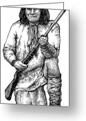 Indian Ink Greeting Cards - Geronimo Greeting Card by Karl Addison