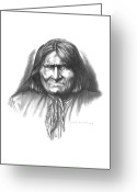Framed Drawings Greeting Cards - Geronimo Greeting Card by Lee Updike