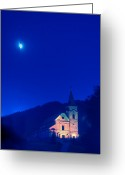 Village Church Greeting Cards - Gerovo Church by Moonlight Greeting Card by Don Wolf