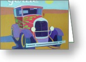 Buggy Greeting Cards - Gertie Model T Greeting Card by Evie Cook
