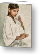 Darkhaired Greeting Cards - Gesture Greeting Card by Gun Legler
