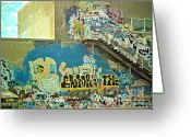 Concrete Greeting Cards - Get Away Graffiti Greeting Card by Gwyn Newcombe
