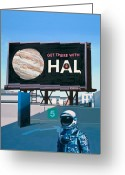 Space Art Greeting Cards - Get There With HAL Greeting Card by Scott Listfield