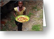 Zambia Photo Greeting Cards - Get Your Chicken Here Greeting Card by Aidan Moran