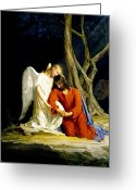 Angel Painting Greeting Cards - Gethsemane Greeting Card by Carl Bloch