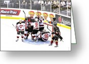 Minor Hockey Greeting Cards - Getting A Bit Crowded Greeting Card by Kenneth Mucke
