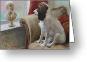 English Springer Spaniel Greeting Cards - Getting Acquainted Greeting Card by Anna Bain