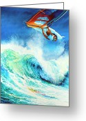 Wind Surfing Art Painting Greeting Cards - Getting Air Greeting Card by Hanne Lore Koehler