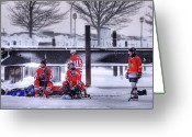 Pond Hockey Greeting Cards - Getting Ready Greeting Card by Don Nieman