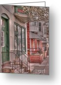 Bradford Greeting Cards - Gettysburg street Greeting Card by David Bearden