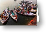 Western Clothing Greeting Cards - Ghats Of Varanasi, India Greeting Card by Soumen Nath Photography