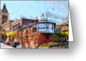 Ghirardelli Chocolate Factory Greeting Cards - Ghirardelli Chocolate Factory San Francisco California . Painterly . 7D14093 Greeting Card by Wingsdomain Art and Photography