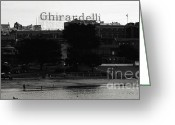 Bay Mixed Media Greeting Cards - Ghirardelli Square in Black and White Greeting Card by Linda Woods