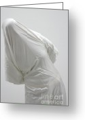 Dismal Greeting Cards - Ghost - person covered with white cloth Greeting Card by Matthias Hauser