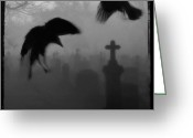 Graveyard Digital Art Greeting Cards - Ghost Crows Greeting Card by Gothicolors With Crows