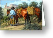 Bloomfield Greeting Cards - Ghost Ranch Cowboy Greeting Card by Randy Follis