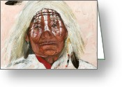 Portraits Mixed Media Greeting Cards - Ghost Shaman Greeting Card by J W Baker