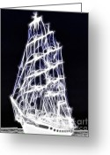 2hivelys Art Greeting Cards - Ghost Ship Greeting Card by Methune Hively