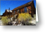 House Pastels Greeting Cards - Ghost Town Bodie Pastel Greeting Card by Stefan Kuhn