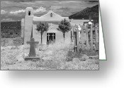 Santa Fe Digital Art Greeting Cards - Ghost Town Church Greeting Card by Sonja Quintero