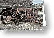 Farm Machine Greeting Cards - Ghost Town Farm Tractor - Molson Washington Greeting Card by Daniel Hagerman