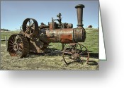 Farm Machine Greeting Cards - Ghost Town Steam Tractor Greeting Card by Daniel Hagerman