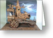 Clay Sculpture Greeting Cards - Ghost Tractor Greeting Card by Stuart Swartz