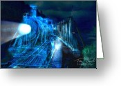 Haunted  Digital Art Greeting Cards - Ghost train bridge Greeting Card by Tom Straub