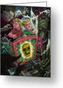 Haunted  Digital Art Greeting Cards - Ghost Train Fun Fair Kids Greeting Card by Martin Davey
