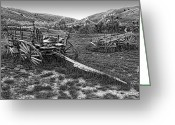 Antique Wagon Greeting Cards - GHOST WAGONS of BANNACK MONTANA Greeting Card by Daniel Hagerman