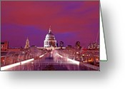 Ghosts Greeting Cards - Ghostly Commuters head to St Pauls on Millennium Bridge Greeting Card by Chris Smith