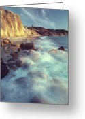 Time Exposures Greeting Cards - Ghostly Surf On Rocky Beach At Gay Head Greeting Card by Michael Melford