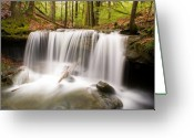 Precipitation Greeting Cards - Ghostly Waterfall Greeting Card by Douglas Barnett