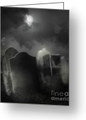 Graveyard Greeting Cards - Ghosts wandering in old cemetery  Greeting Card by Sandra Cunningham