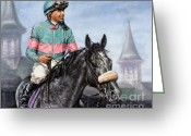 Jockeys Greeting Cards - Giacomo at Churchill Greeting Card by Thomas Allen Pauly